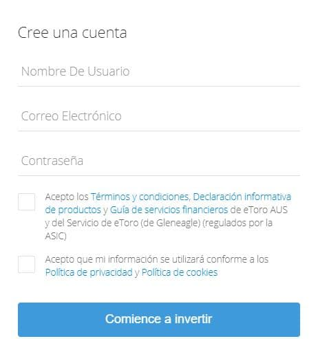 eToro formulario registro