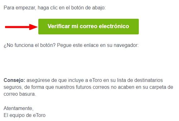 eToro verificación correo