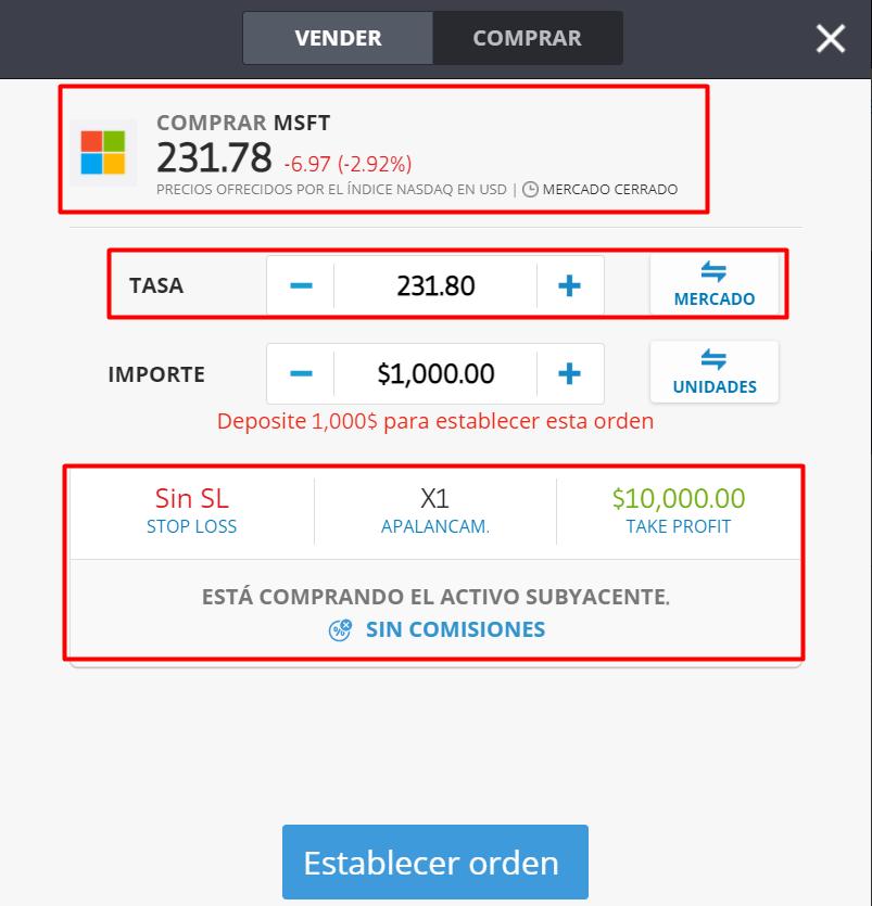 Comprar acciones Microsoft