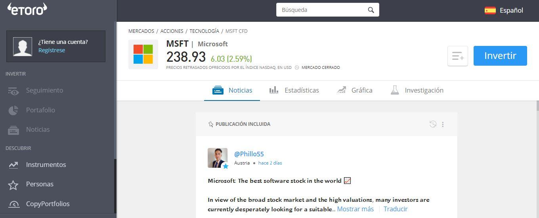 Microsoft acciones comprar