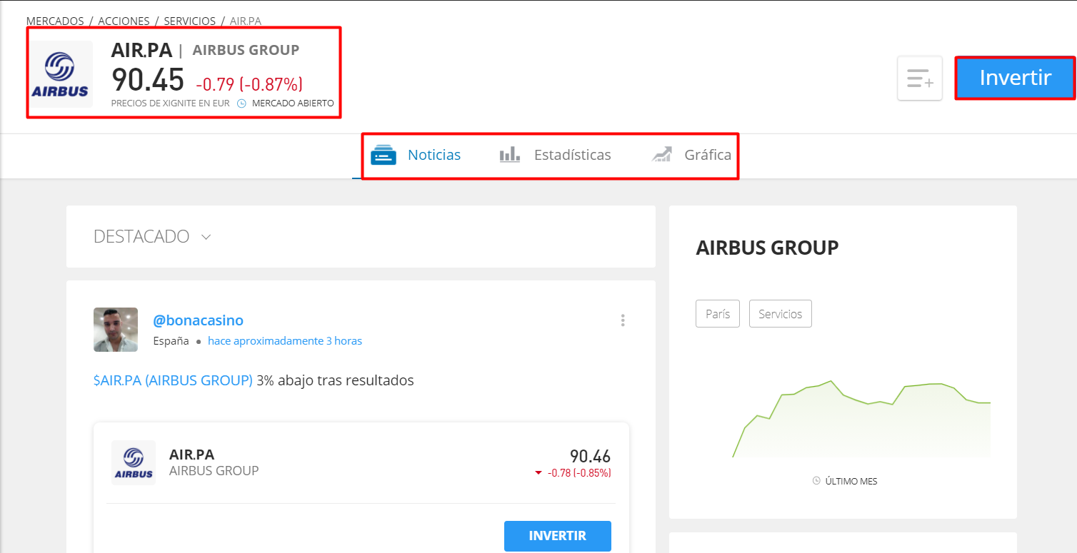 Acciones Airbus hoy