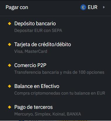 Metodos de deposito Binance