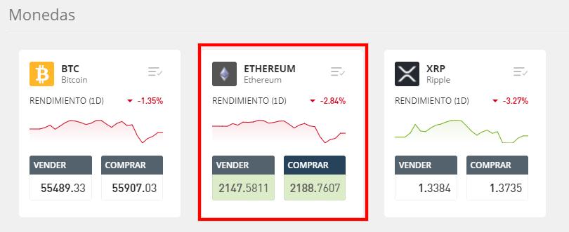 eToro buscar Ethereum