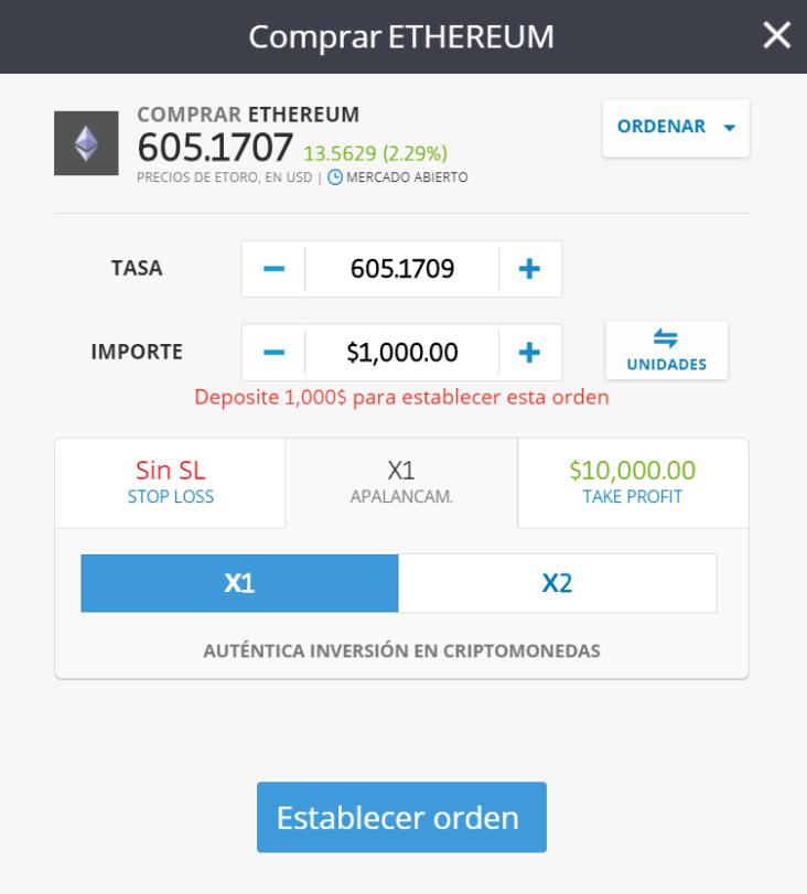 Comprar Ethereum eToro