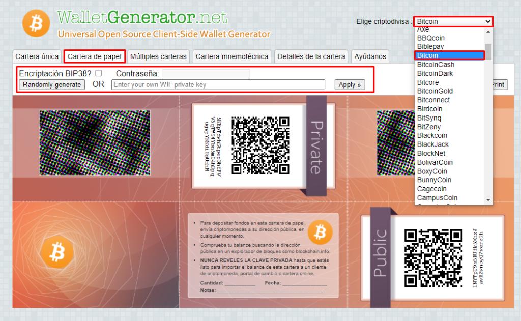 wallet generator crear