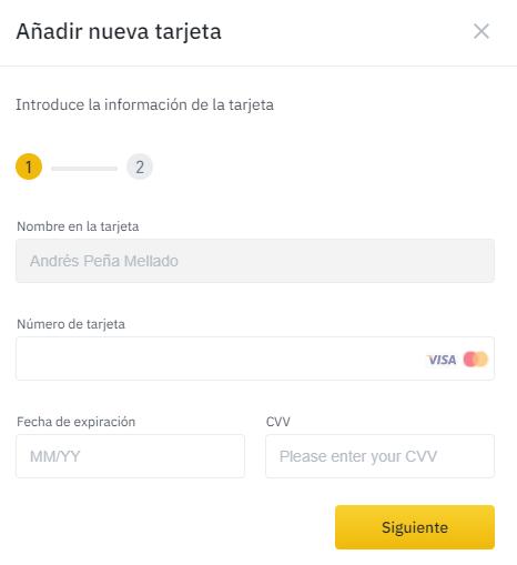 Binance préstamos personales paso 2 añadir tarjeta