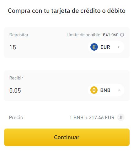 Binance préstamos personales paso 2 comprar BNB