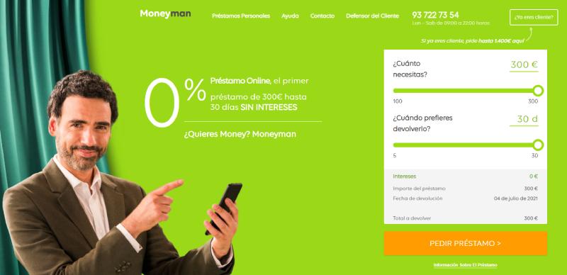 MoneyMan préstamos personales paso 1