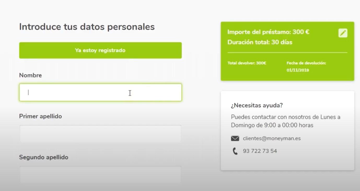 MoneyMan préstamos personales paso 2 formulario